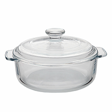 Heat resistant glass casserole