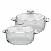 Set of heat resistant glass casseroles