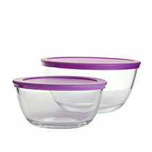 Set of heat resistant glass serving bowls